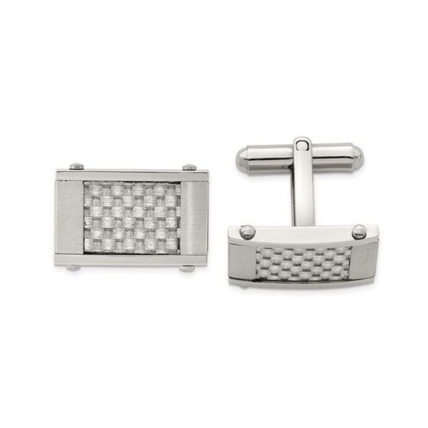 Stainless Steel Brushed & Polished Grey Carbon Fiber Inlay Cufflinks Quality Gem, LLC Bethel, CT