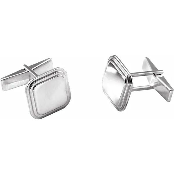 Sterling Silver Square Engravable Cufflinks Quality Gem, LLC Bethel, CT