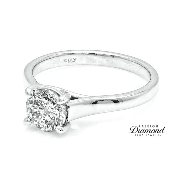 14k White Gold 1.01 Carat Diamond Trellis Solitaire Ring Raleigh Diamond Raleigh, NC
