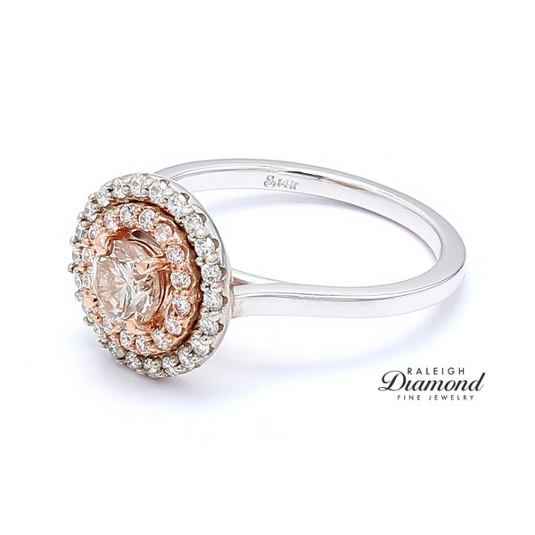 14k White and Rose Gold 0.96 CTTW Diamond Double Halo Engagement Ring Image 2 Raleigh Diamond Raleigh, NC