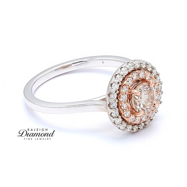 14k White and Rose Gold 0.96 CTTW Diamond Double Halo Engagement Ring Image 3 Raleigh Diamond Raleigh, NC