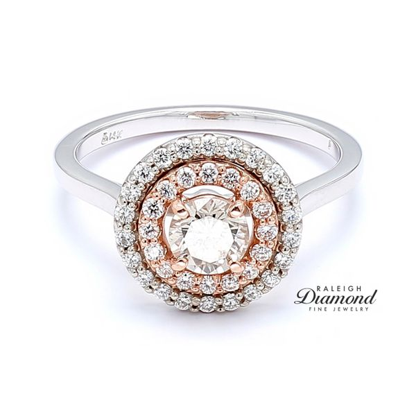 14k White and Rose Gold 0.96 CTTW Diamond Double Halo Engagement Ring Raleigh Diamond Raleigh, NC