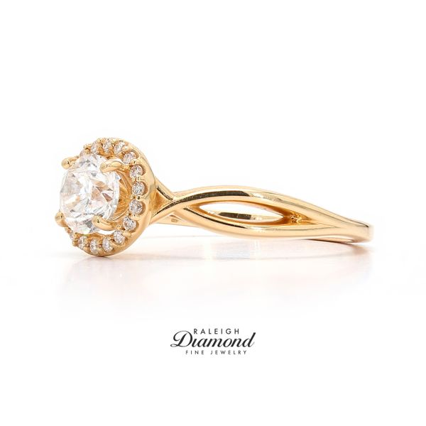 14k Yellow Gold 0.78CTW Diamond Halo Engagement Ring Image 2 Raleigh Diamond Raleigh, NC