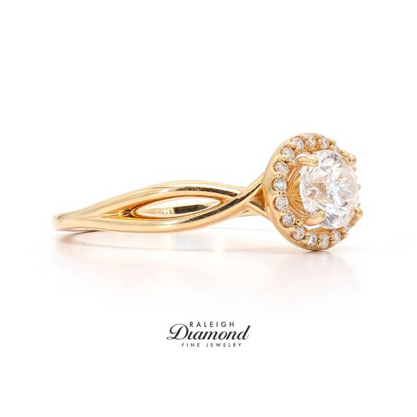 14k Yellow Gold 0.78CTW Diamond Halo Engagement Ring Image 3 Raleigh Diamond Raleigh, NC