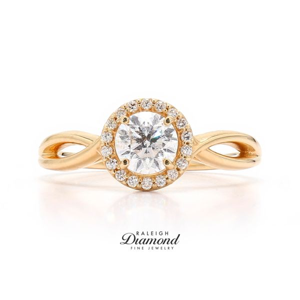 14k Yellow Gold 0.78CTW Diamond Halo Engagement Ring Raleigh Diamond Raleigh, NC