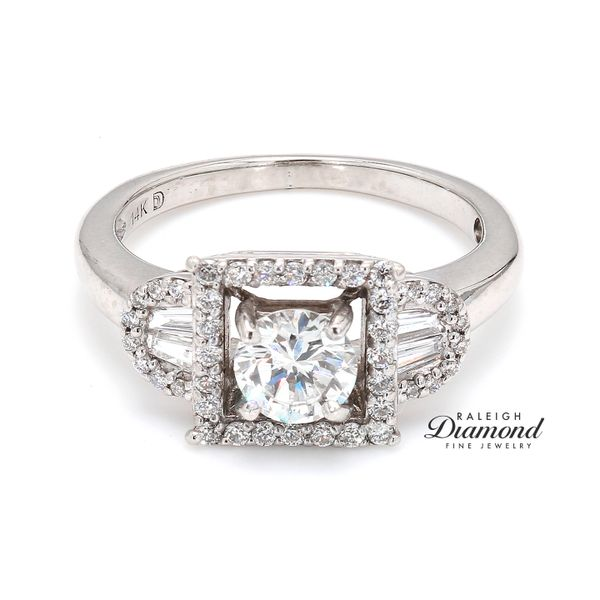 Diamond Halo Engagement Ring in 14k White Gold Raleigh Diamond Raleigh, NC