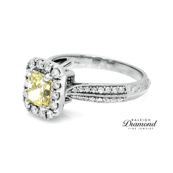 Yellow Diamond Halo Engagement Ring 14k Gold Image 2 Raleigh Diamond Raleigh, NC
