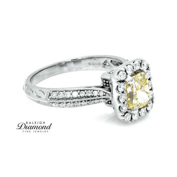Yellow Diamond Halo Engagement Ring 14k Gold Image 3 Raleigh Diamond Raleigh, NC