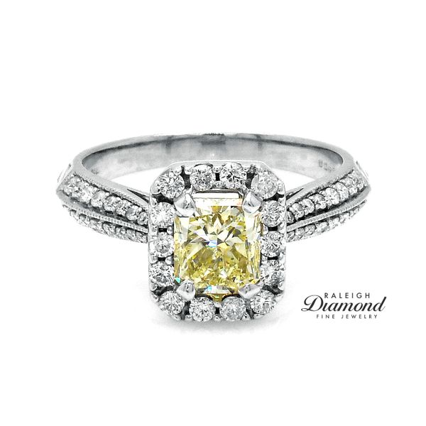 Yellow Diamond Halo Engagement Ring 14k Gold Raleigh Diamond Raleigh, NC