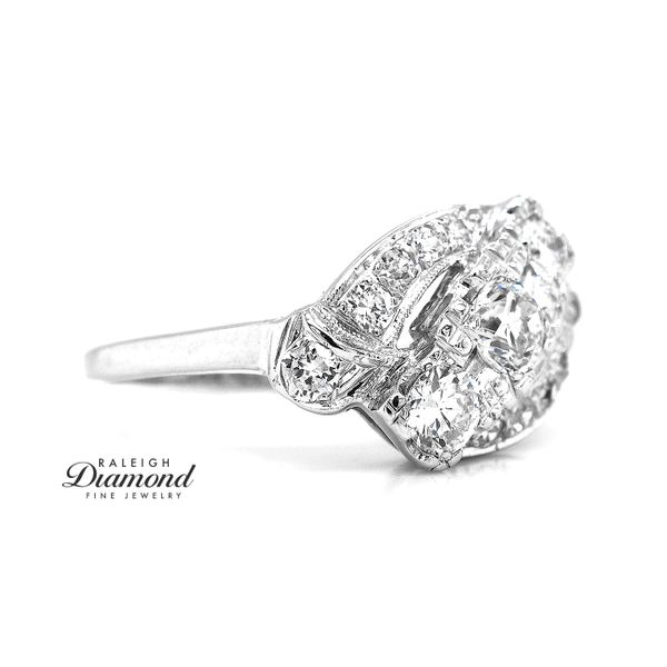 Vintage Bypass Cocktail Diamond Ring 14k White Gold Image 3 Raleigh Diamond Raleigh, NC