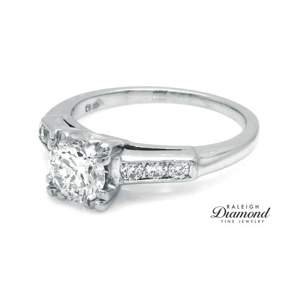Vintage Diamond Engagement Ring in Platinum Image 2 Raleigh Diamond Raleigh, NC