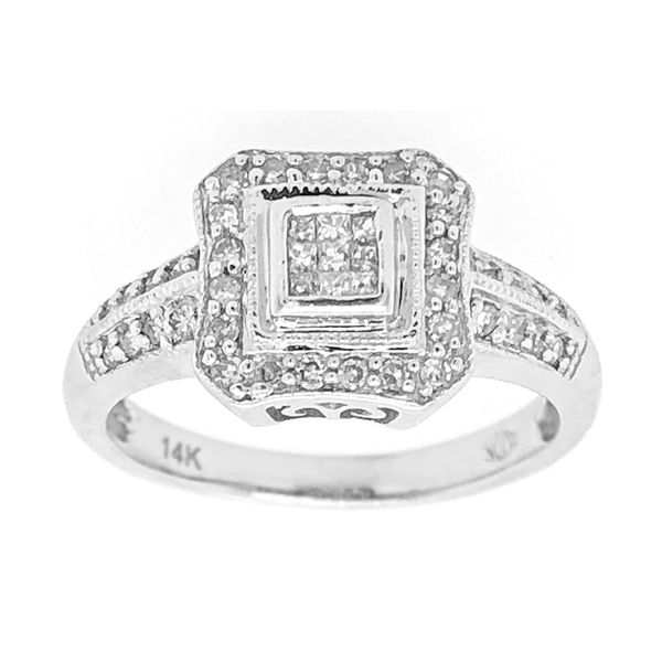 Diamond Cluster Style Engagement Ring in 14k White Gold Image 2 Raleigh Diamond Raleigh, NC
