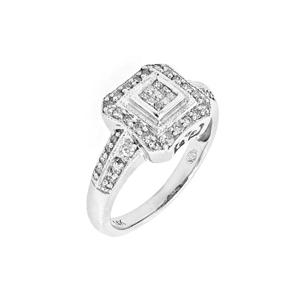 Diamond Cluster Style Engagement Ring in 14k White Gold Raleigh Diamond Raleigh, NC
