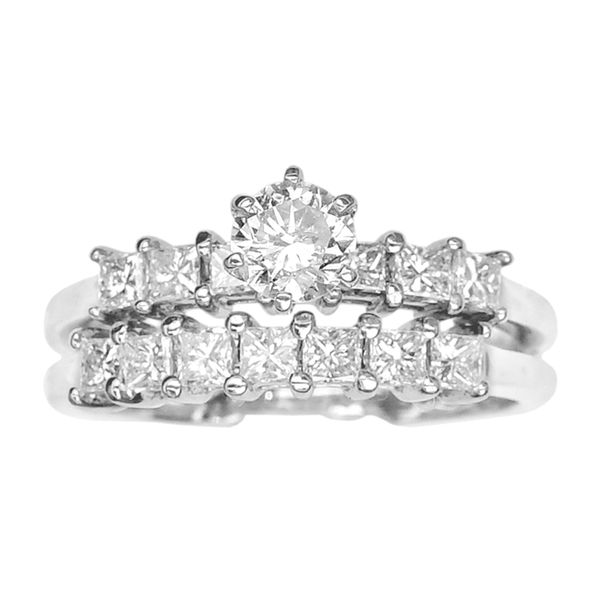Estate Wedding Set with Round and Princess Cut Diamonds in 14k White Gold Image 2 Raleigh Diamond Raleigh, NC
