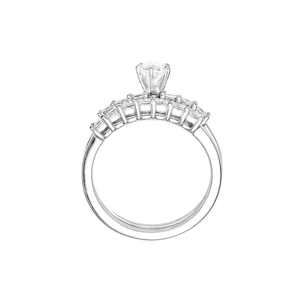Estate Wedding Set with Round and Princess Cut Diamonds in 14k White Gold Image 3 Raleigh Diamond Raleigh, NC