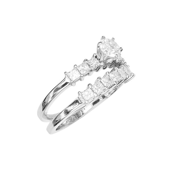 Estate Wedding Set with Round and Princess Cut Diamonds in 14k White Gold Raleigh Diamond Raleigh, NC