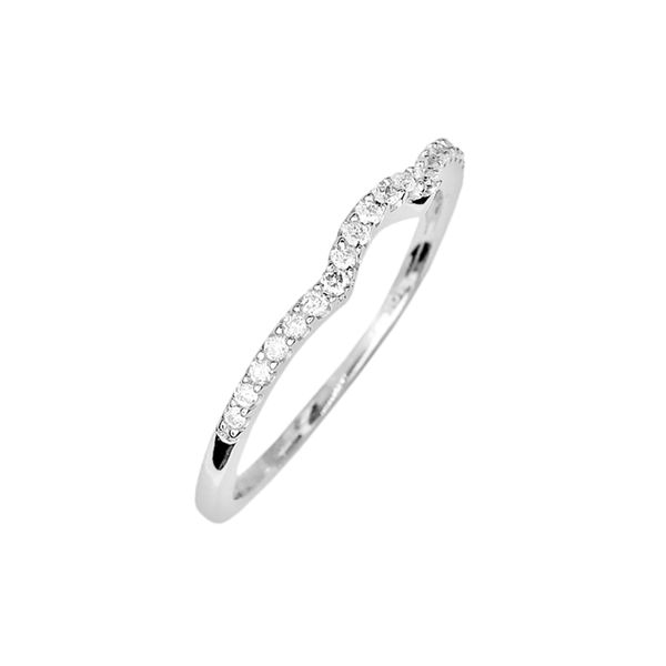 Estate 14k White Gold Diamond Contour Band Image 2 Raleigh Diamond Raleigh, NC