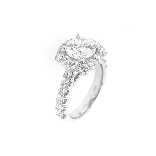Coast Halo 1.50cttw Diamond Semi Mount Ring 14k White Gold Image 2 Raleigh Diamond Raleigh, NC