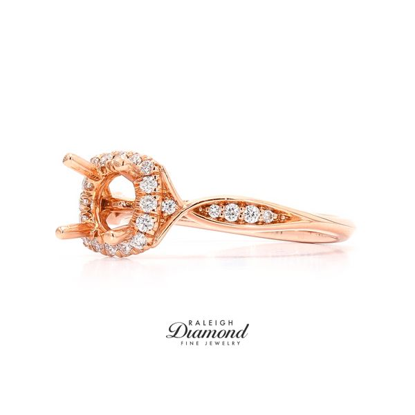 Gabriel NY Round Halo Diamond Engagement Ring 14k Rose Gold Image 2 Raleigh Diamond Raleigh, NC