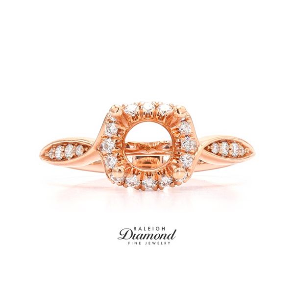 Gabriel NY Round Halo Diamond Engagement Ring 14k Rose Gold Raleigh Diamond Raleigh, NC