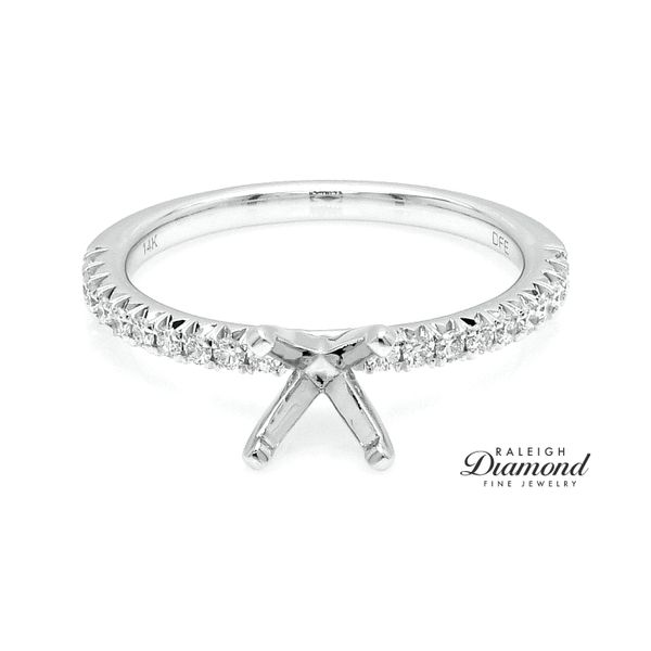 Diamonds Forever USA 14k White Gold 0.25CTW Diamond Accented Shank Semi-Mount Raleigh Diamond Raleigh, NC