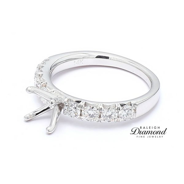 Diamond Accented Semi-mount Engagement Ring 14k White Gold 0.67 CTW Image 2 Raleigh Diamond Raleigh, NC