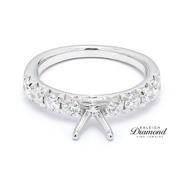 Diamond Accented Semi-mount Engagement Ring 14k White Gold 0.67 CTW Raleigh Diamond Raleigh, NC
