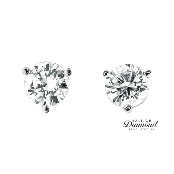 0.82 cttw Diamond Solitaire Stud Earrings 14k White Gold Image 2 Raleigh Diamond Raleigh, NC