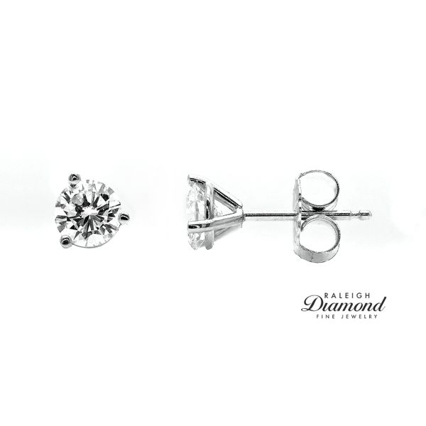 0.82 cttw Diamond Solitaire Stud Earrings 14k White Gold Raleigh Diamond Raleigh, NC