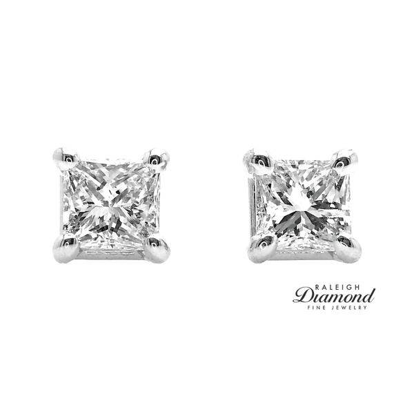 0.88 cttw Princess Cut Diamond Solitaire Stud Earrings 14k White Gold Image 2 Raleigh Diamond Raleigh, NC