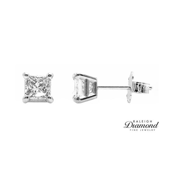 0.88 cttw Princess Cut Diamond Solitaire Stud Earrings 14k White Gold Raleigh Diamond Raleigh, NC
