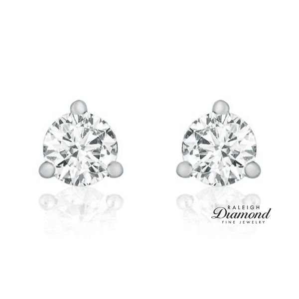 0.20 cttw Diamond Solitaire Stud Earrings 14k White Gold Image 2 Raleigh Diamond Raleigh, NC