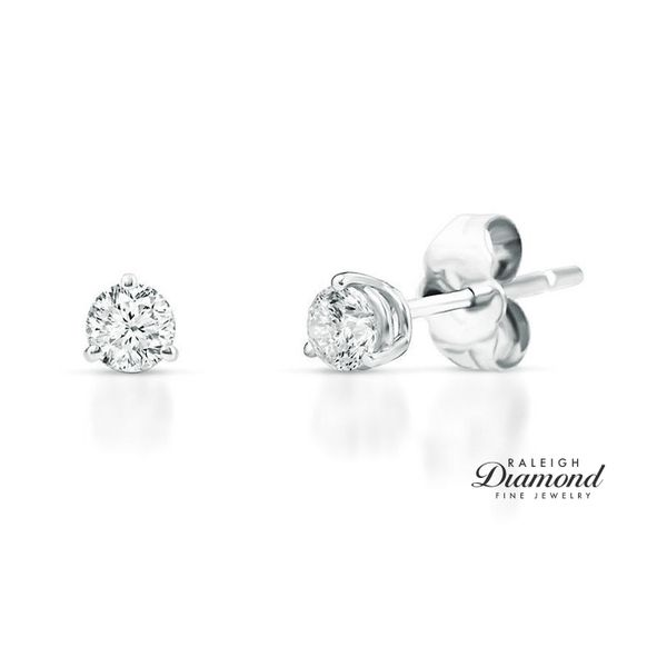 0.20 cttw Diamond Solitaire Stud Earrings 14k White Gold Raleigh Diamond Raleigh, NC