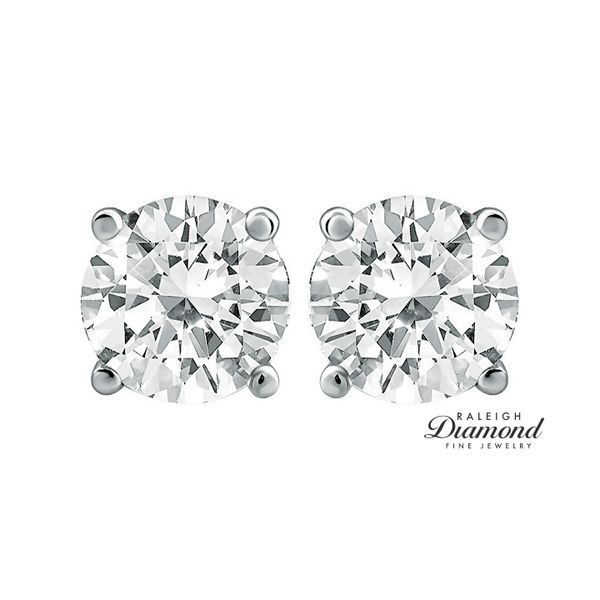 0.25 cttw Diamond Solitaire Stud Earrings 14k White Gold Image 2 Raleigh Diamond Raleigh, NC