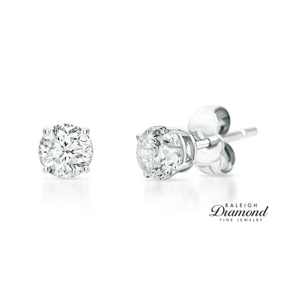 0.25 cttw Diamond Solitaire Stud Earrings 14k White Gold Raleigh Diamond Raleigh, NC
