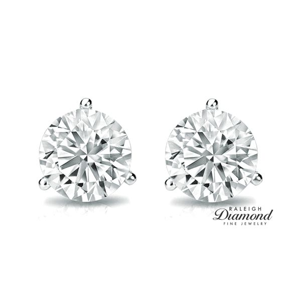 0.50 cttw Diamond Solitaire Stud Earrings 14k White Gold Image 2 Raleigh Diamond Raleigh, NC