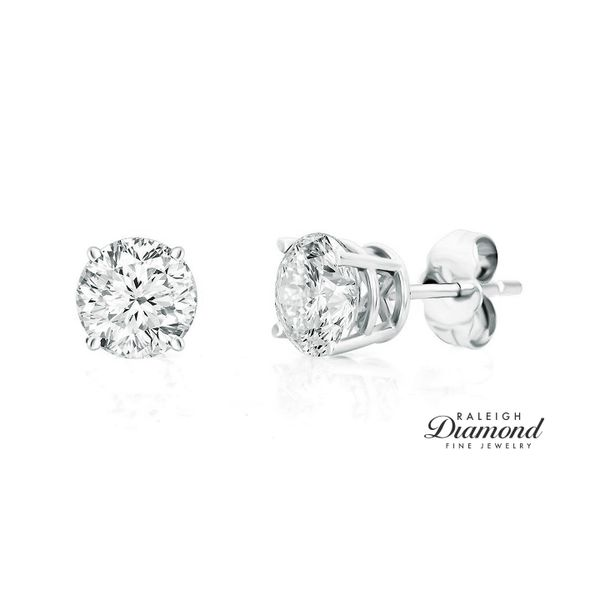 0.50 cttw Diamond Solitaire Stud Earrings 14k White Gold Raleigh Diamond Raleigh, NC