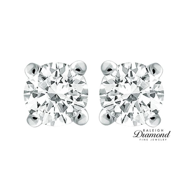 0.90 cttw Diamond Solitaire Stud Earrings 14k White Gold Image 2 Raleigh Diamond Raleigh, NC