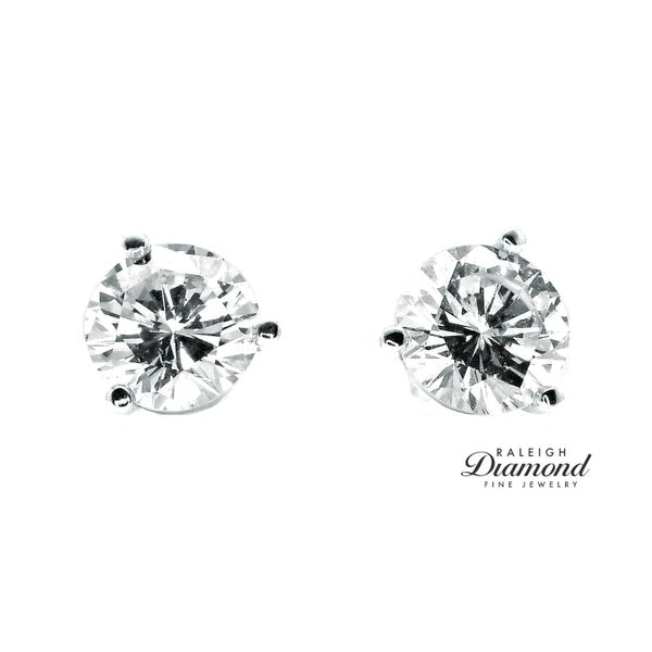 1.04 cttw Diamond Solitaire Stud Earrings 14k White Gold Image 2 Raleigh Diamond Raleigh, NC