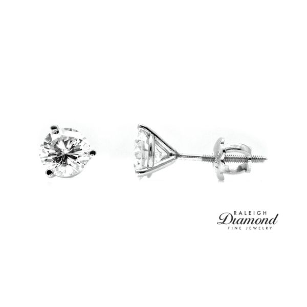 1.04 cttw Diamond Solitaire Stud Earrings 14k White Gold Raleigh Diamond Raleigh, NC