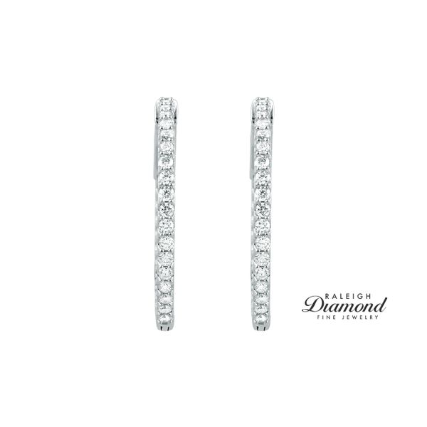 1 CTW Diamond Inside-Outside  Hoop Earrings 14k White Gold Image 2 Raleigh Diamond Raleigh, NC