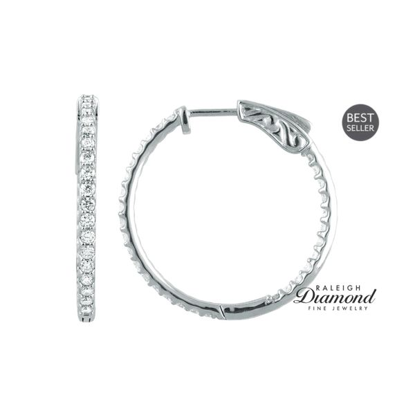1 CTW Diamond Inside-Outside  Hoop Earrings 14k White Gold Raleigh Diamond Raleigh, NC