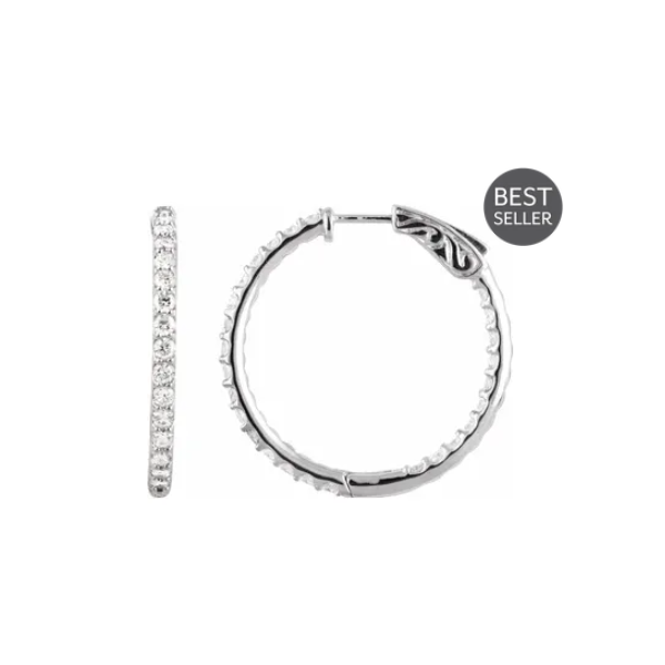 3/4 CTTW Diamond Inside-Outside  Hoop Earrings 14k White Gold Raleigh Diamond Raleigh, NC