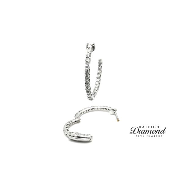 1/2  cttw Diamonds Oval Shaped Inisde-Out Hoops 14k White Gold Image 2 Raleigh Diamond Raleigh, NC