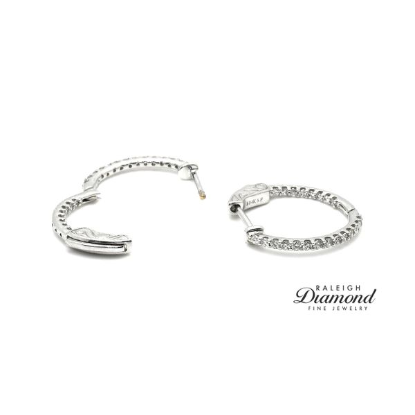 1/2  cttw Diamonds Oval Shaped Inisde-Out Hoops 14k White Gold Raleigh Diamond Raleigh, NC