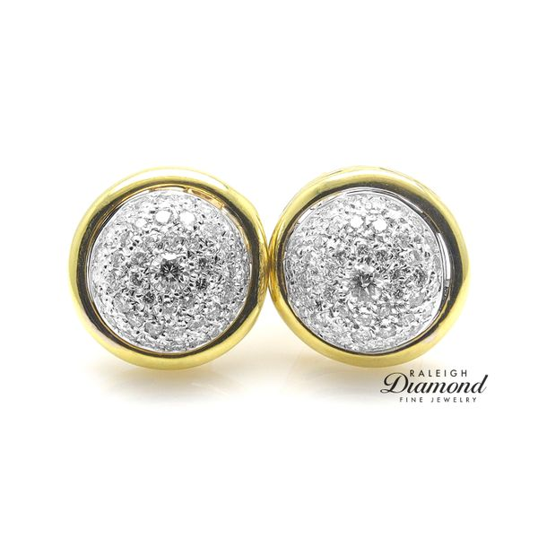 Diamond Pave Button Earrings in 18k Gold Image 2 Raleigh Diamond Raleigh, NC