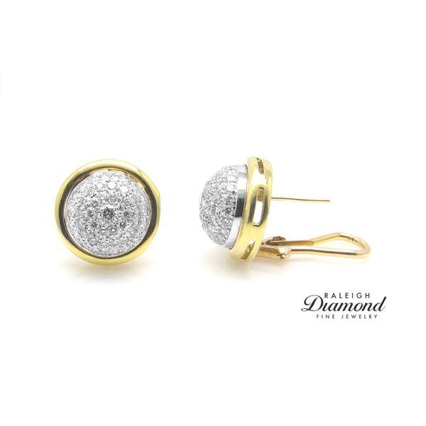 Diamond Pave Button Earrings in 18k Gold Raleigh Diamond Raleigh, NC