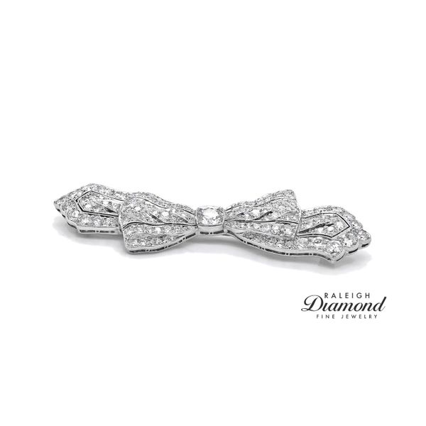 Antique Diamond Bow Pin in Platinum Raleigh Diamond Raleigh, NC