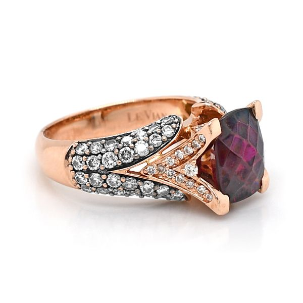Le Vian Raspberry Rhodolite Garnet with Choclate and Vanilla Diamonds Ring 14k Rose Gold Image 2 Raleigh Diamond Raleigh, NC
