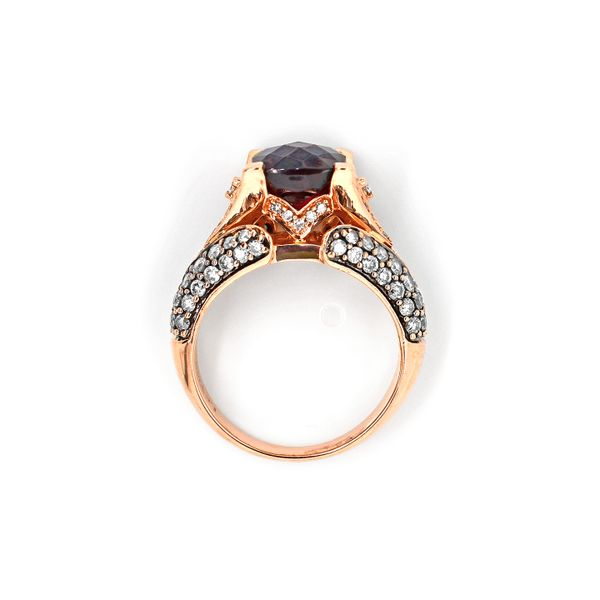 Le Vian Raspberry Rhodolite Garnet with Choclate and Vanilla Diamonds Ring 14k Rose Gold Image 4 Raleigh Diamond Raleigh, NC